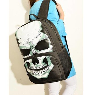 Black Canvas Backpack Avec Skull