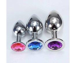 Steel Butt Plug Incrusté Avec Jewels