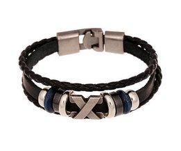 Bracelet En Cuir Avec Perles En Métal