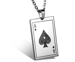 Ace Of Spades Collier Pendentif En Acier Inoxydable