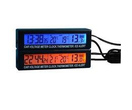Horloge Voiture Thermomètre Tension Compteur 3 En 1