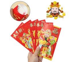 Roter Umschlag Chinese New Year Gott Des Reichtums 6 Stück