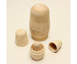 5-Teiliges Set Unpainted Matrjoschka-Puppen Holz