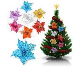 Glitter Dekorative Künstliche Blume Für Weihnachten 16CM