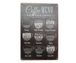 Weinlese-Kaffee-Wand-Platten-Metall