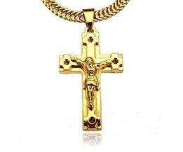 Jesus Auf Dem Kreuz Halskette Gold Überzogen
