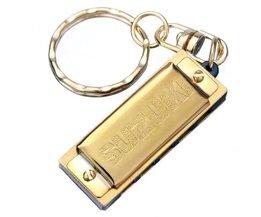 Goldene Harmonica Schlüsselanhänger