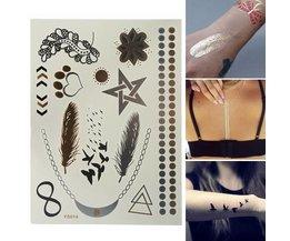 Gold, Silber Und Schwarz Metallic Scheibe Tattoos