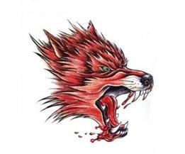 Fake Tattoo Red Wolf-Kopf