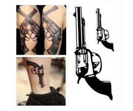 2 Wasserdichte Tattoo-Aufkleber Mit Gewehr