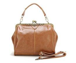 Brown PU-Leder-Handtasche Mit Eleganter Schnappverschluss