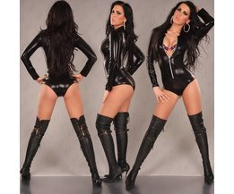 Sexy Faux-Leder-Bodysuit