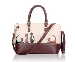 Brown-Weiß Damen-Handtaschen Mit Katze Oder Kaninchen-Muster