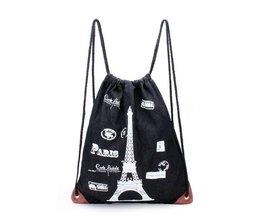 Segeltuch-Rucksack Mit Seilzug-Und Eiffelturm-Ausgabe Überdrucken