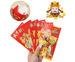 Red Envelope Chinese New Year God Of Wealth 6 Pieces