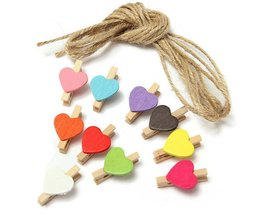 Clothespins With Heart Shape 10 Pieces