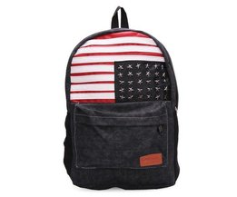 LAIENTE Canvas Backpack With The American Flag