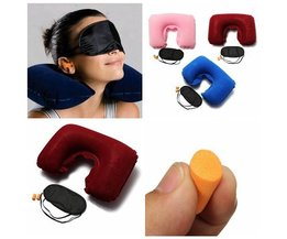 Inflatable Travel Pillow With Eye Mask And Earphones