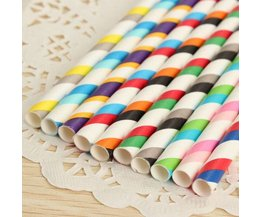 25 Striped Straws