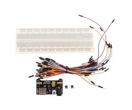 Breadboard With Jumper Wires And Power Supply For Arduino