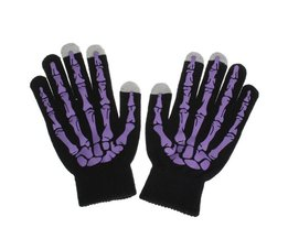 Touchscreen Gloves Skeleton Print