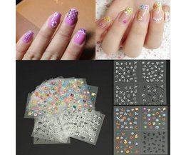 Colorful Nail Art Stickers Tips With Flower Design
