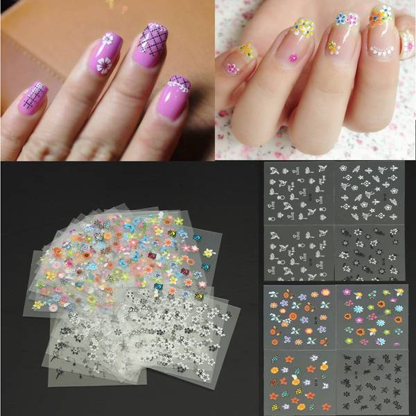 Colorful Nail Art Stickers Tips With Flower Design - Buy online ...