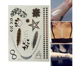 Gold, Silver And Black Metallic Slice Tattoos