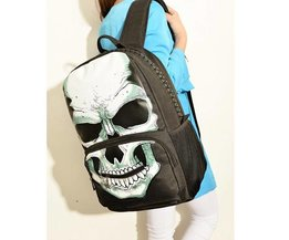 Black Canvas Backpack With Skull