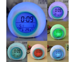 Digital Alarm Clock 7 Color LED Light And Natural Sounds