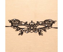 Black Lace Butterfly Mask With Crystal Decoration