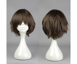 Short Brown Wig Of Synthetic Material