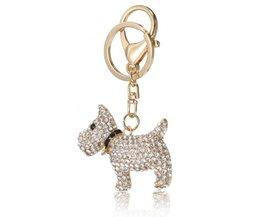 Dog Keychain With Rhinestones