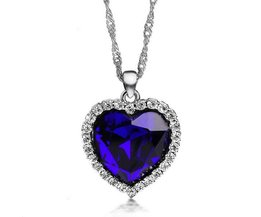Plated Necklace With Heart Ocean Blue With Crystal Rhinestones