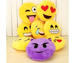 Smiley Yellow Round Cushion