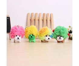 Plush Mini Dog With Large Colorful Haircut