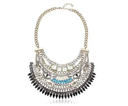 Statement Necklace With Colored Stones