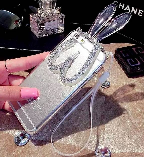Phone Case Bunny Ears Strass