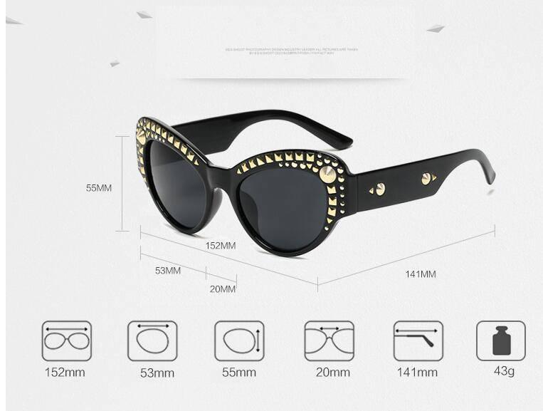 Sunglasses Cat Eye Rivets