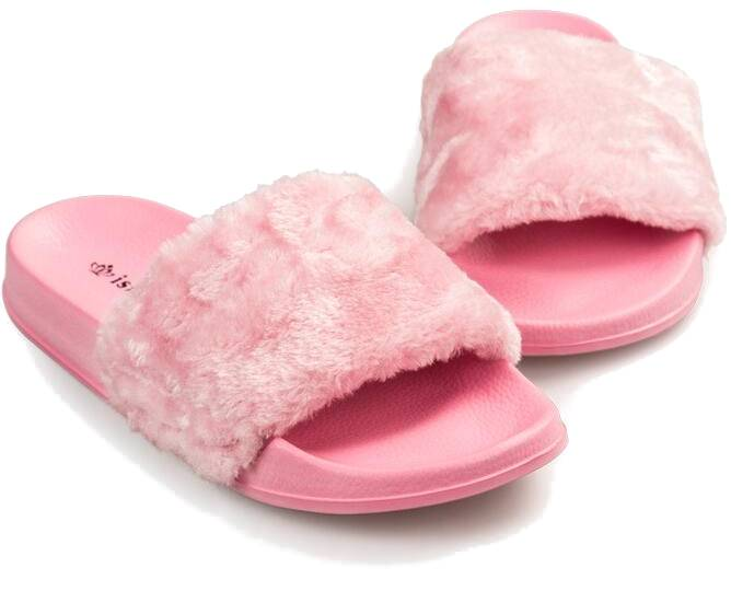 Flip Flop Faux Fur (Soft Pink + White)