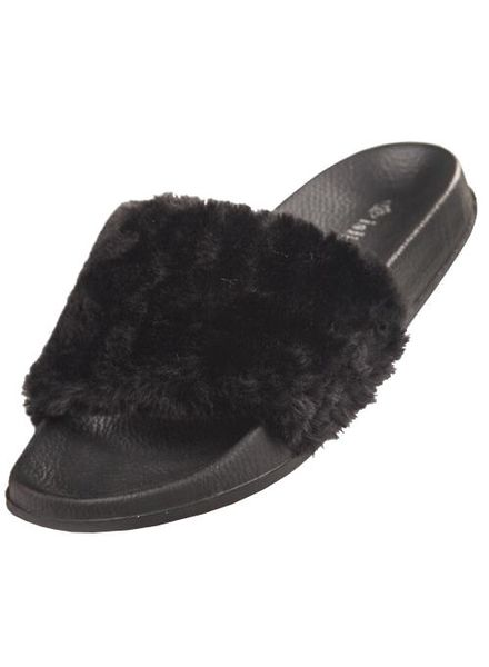 Flip Flop Faux Fur (Black)