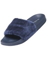 Flip Flop Faux Fur (Blue + Nude)