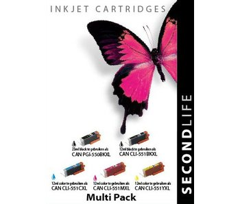 SecondLife Multipack Canon 550 Black & 551 Serie