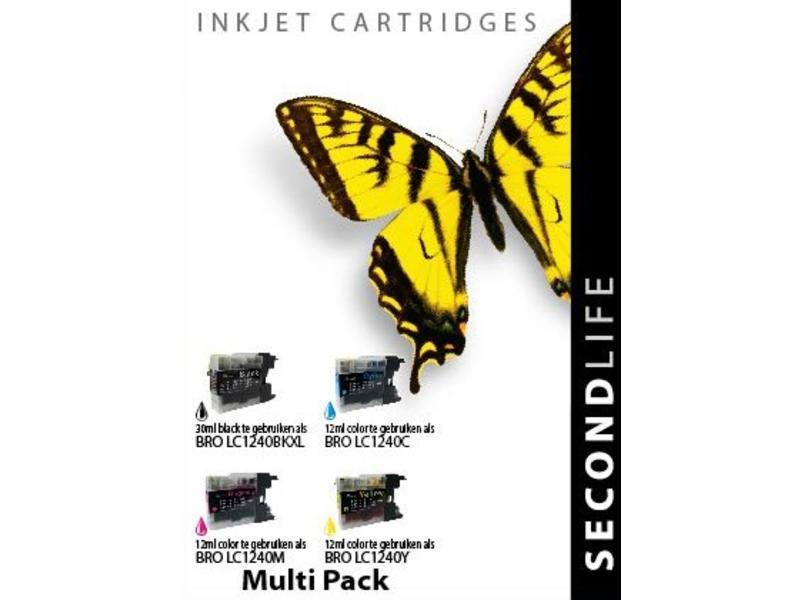 SecondLife Multipack Brother 1240 BK, C, M en Y
