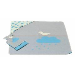 David Fussenegger David Fussenegger Blanket Jewel hooded regenwolk turquoise / grijs