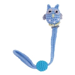Sindibaba Sindibaba Schnullerkette crochet owl light blue