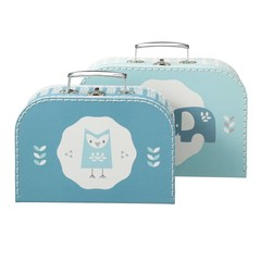 Fresk Fresk kartonnen koffer Set van 2 blauw wit met uil en de olifant