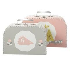 Fresk Fresk kartonnen koffer Set van 2 roze grijs met vos en egel
