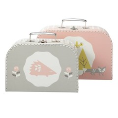 Fresk Fresk Pappkoffer 2er Set rosa grau mit Fuchs und Igel