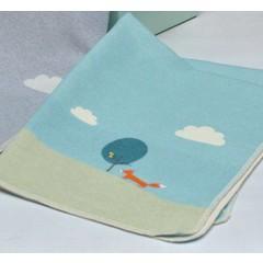 David Fussenegger David Fussenegger jewel baby blanket embroidery fox gray / jade